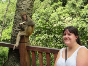 A wild monkey, staring at the Lao Wei!  (Lao Wei is 'foreigner'.  We hear it everywhere we go!  We are treated like celebrities because there are so few of us in Guiyang)