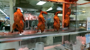 Roasted ducks hanging at Walmart