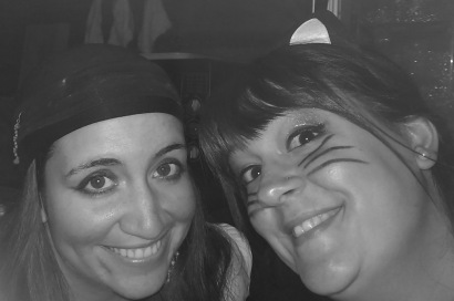 Lexie and I hiding behind a counter at the Halloween party.  We stayed hidden and jumped out at the kids as they entered the cafeteria :)
