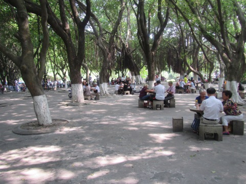 Retirees playing mahjong and card games in the park.  I think this would be a lovely place to spend my retirement!!