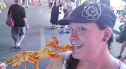 We took a quick picture as we were getting away from the crowds, because I wanted to be able to show you the crab!  I could have eaten 3 skewers myself! haha!