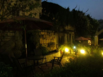 The terrace where we sat writing and enjoying some Chinese beer :)