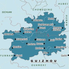 Meitian is too small to be included on a map like this, but it's right above Zunyi.  Guiyang, where we live, is right in the center of the province