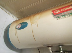 Our hot water tank, before we cleaned it...