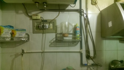 The pipes above our kitchen sink.  They carry the water from the hot water tank to the bathroom.