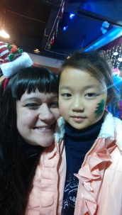 Me and one of my students at the party.  Barbie is such a sweet girl :)  She's one of the first students I met here and we've been besties every since!