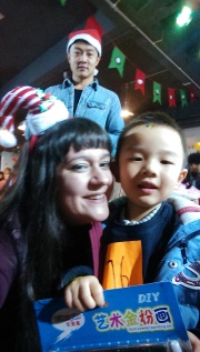 One of my youngest students, Smile.  I especially love Ouyang's photobomb lol!