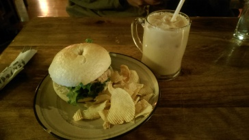 I enjoyed this fantastic tuna sandwich and potato chips, along with a Chai Latte :)