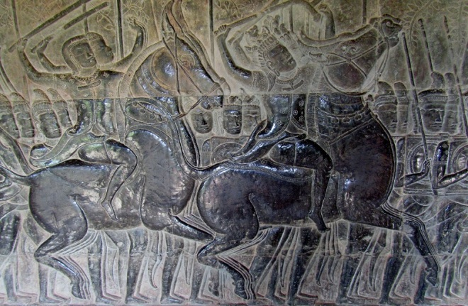Some carvings tell stories about battles that were won (or lost) by the Khmer Empire