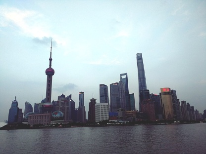 A view of the Shanghai Skyline from 'The Bund', a famous walking path by the water