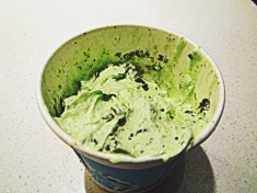 For National Day, Mcdonalds changed it's vanilla ice cream into 'green tea matcha' icecream. I did not know this when I orded an Oreo Mcflurry...