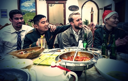 Isaac and Adam making friends at Bei Jiang; one of our favorite restaurants in Suzhou