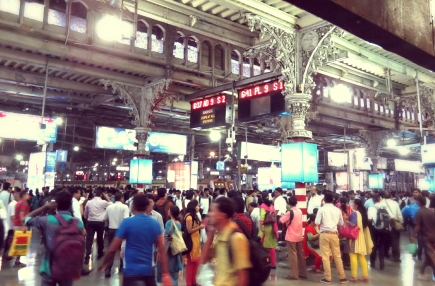 but the constant flow of people coming in and out of the station is really something to see! Mumbai is one of the most densly populated cities in the world...and at this station, that is not surprising...