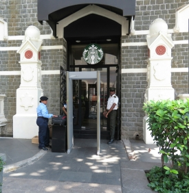 Security going into Starbucks...