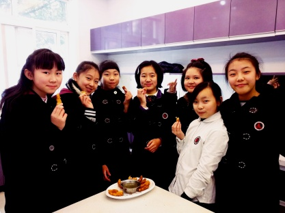 My 7th grade all-girls class. They have improved so much in the kitchen, learning how to clean properly and how to make safe food