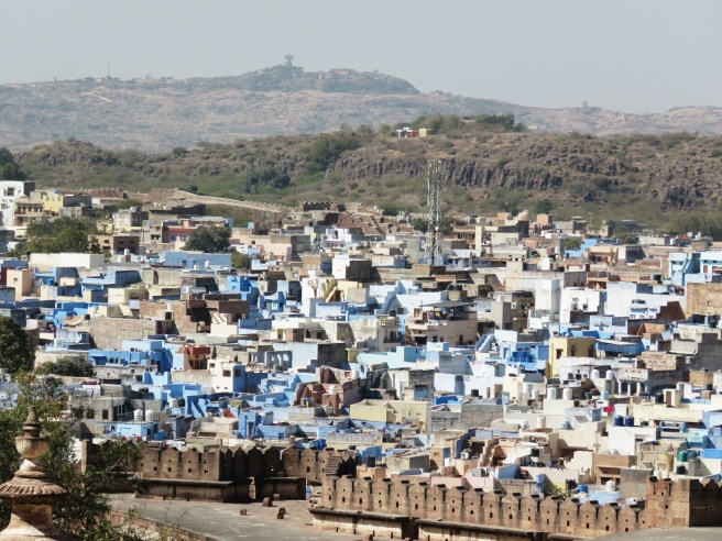 A view of The Blue City from Jodpur fort. Similar to Jaipur, citizens paint their homes blue in the old part of town.