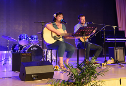 Nathan and I performing at the Grade 8 Charity Fundraiser last week