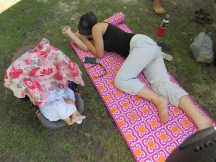 My sister, keeping a sleeping Zach company (hahaha! Such a sport for coming out, even though she was 'under the weather'!!!