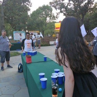 Mia, killing it at Beer Pong (just kidding...our team only managed to get 1 in, the whole game!!!)