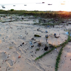 Lots of broken glass on the beach...