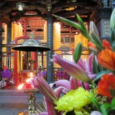 Flowers were also being placed all around the temple