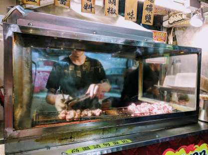 Dave's favourite street food was the 'beef guy', who was flame grilling chunks of beef (something we don't eat often in China). When we asked if we could mix flavours and get cumin, salt AND pepper (instead of just one of the three) he laughed and said 'sure!'....an uncommon occurrence in China, where people follow orders without much room for change.