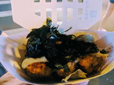 This was my favourite street food of the trip! They are doughy balls with squid in the middle, topped with seaweed. Delicious!