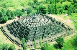 Borobudur Temple in Indonesia-Aerial view of the temple