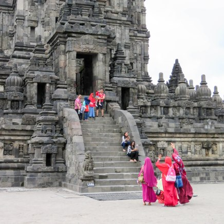 Many women in Indonesia wear Hihabs. I loved the way these ladies contrasted with the beautiful stone behind them