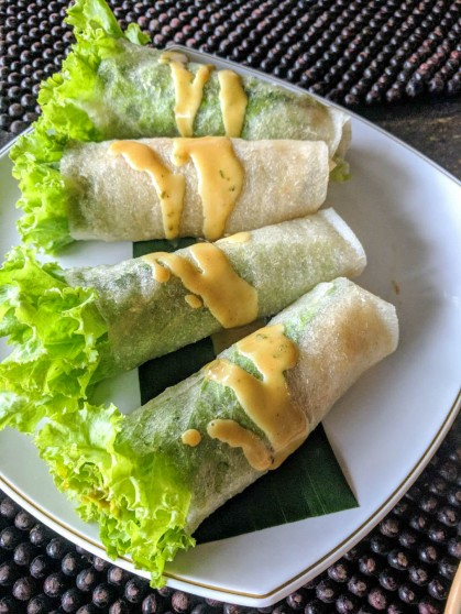 Very tasty veggie wraps drizzled with a honey dressing