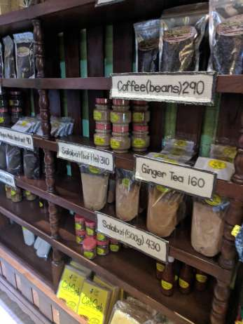 Lots of products for sale here, including honey, coffee, tea, cassava chips and so much more!
